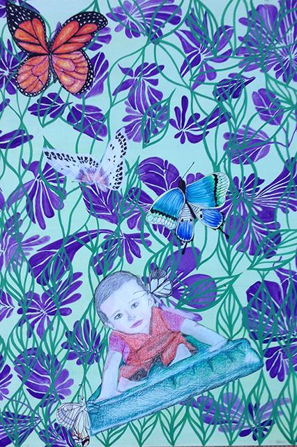 Ana papillonne, aquarelle et crayon aquarellable