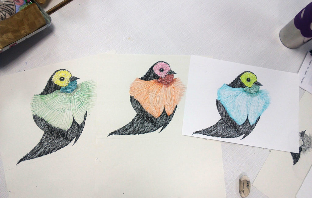Oiseaux, stylo et feutre